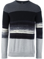 Diesel Ribbed Striped Jumper Black