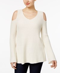 Styleandco. Style Co. Petite Cold Shoulder Sweater Only At Macy's Warm Ivory
