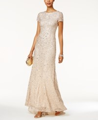 Adrianna Papell Beaded Ombre Gown Champagne