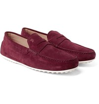 Tod's City Gommino Suede Penny Loafers Burgundy