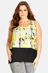 City Chic 'Solar Floral' Sleeveless Tiered Top Plus Size
