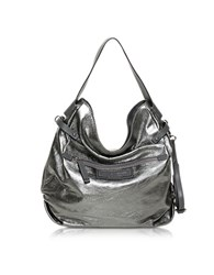 Francesco Biasia Storm Laminated Leather Shoulder Bag Silver