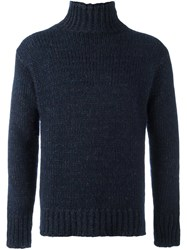 Boglioli Ribbed Roll Neck Jumper Blue