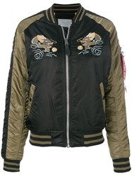 Alpha Industries Dragon Embroidered Bomber Jacket Multicolour