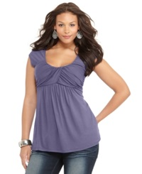 Soprano Plus Size Cap Sleeve Ruched Empire Top Lilac Runway