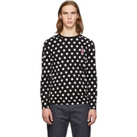 Maison Kitsune Black And White Polka Dot Fox T Shirt