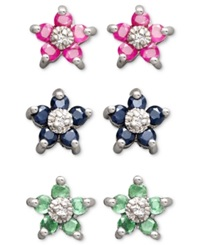 Victoria Townsend Sterling Silver Earring Set Ruby Sapphire And Emerald Flower Stud