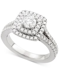 Marchesa Certified Diamond Square Halo Engagement Ring 1 1 4 Ct. T.W. In 18K White Yellow Or Rose Gold Created For Macy's White Gold