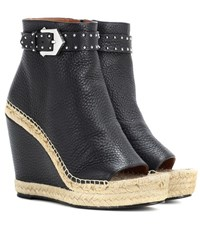 Givenchy Leather Wedge Espadrille Ankle Boots Black