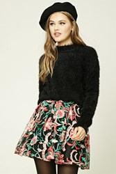 Forever 21 Pleated Embroidered Mini Skirt Black Pink