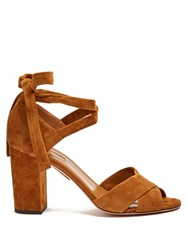 Aquazzura Tarzan Block Heel Suede Sandals Tan