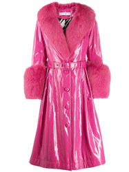 Saks Potts Belted Glossy Effect Trench Coat Pink