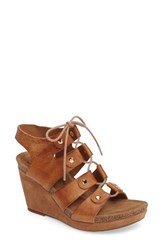 Sofft Women's Carita Lace Up Wedge Sandal Luggage Leather