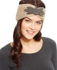 David And Young Flower Applique Cinched Headwrap Black