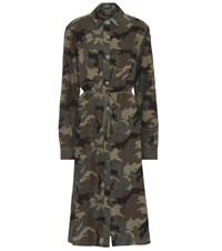 Amiri Camouflage Cotton Blend Shirt Dress Green
