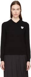 Comme Des Garcons Play Black Heart Patch V Neck Sweater