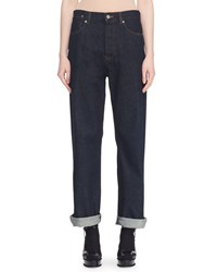 Dries Van Noten High Rise Straight Leg Dark Denim Jeans Indigo