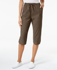 Karen Scott Petite Cotton Drawstring Capri Pants Only At Macy's Portabello