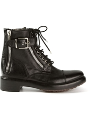 Rocco P. Zipped Military Boots Black