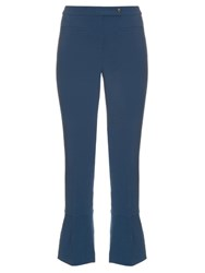 Fendi Kick Flare Wool Blend Trousers Blue