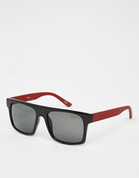 Asos Flatbrow Sunglasses In Black With Burgundy Arms Black