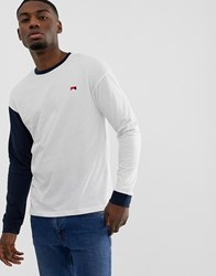 Jack And Jones Originals Long Sleeve T Shirt With Contrast Drop Sleeve White