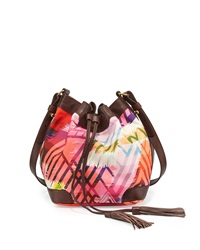 Cynthia Vincent Addison 2 Leather Trim Printed Bucket Bag Brown Multicolor