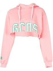 Gcds Cropped Logo Hoodie Pink And Purple