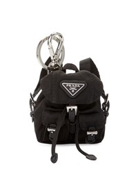Prada Vela Backpack Shaped Handbag Charm Keychain Black Nero