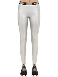 Moschino Logo Band Lame Leggings Silver