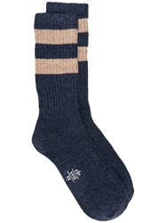 Eleventy Striped Pattern Socks Blue