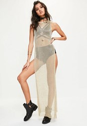 Missguided Gold Longline Metallic Side Split Tunic