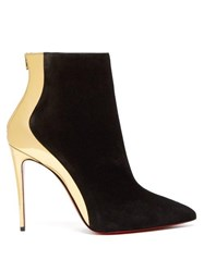 Christian Louboutin Delicotte 100 Suede And Leather Ankle Boots Black Gold