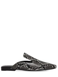 377d42b029f Jeffrey Campbell 10Mm Snake Print Leather Mules Grey