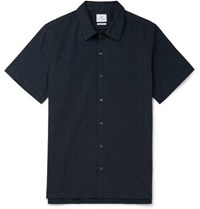 Paul Smith Printed Cotton Seersucker Shirt Navy