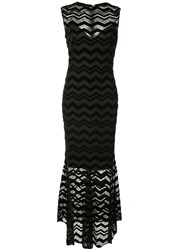 Christian Siriano Zigzag Panel Dress Black