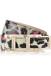Valentino Embellished Leopard Print Watersnake Belt Gray