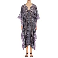 Two Ikat Striped Gauze Caftan Purple