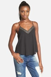 Astr Beaded V Neck Camisole Juniors Black