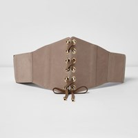 River Island Nude Lace Up Front Belt