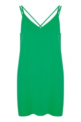 Topshop Petite Cross Back Slip Dress Bright Green