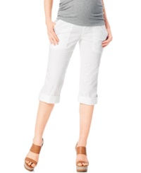 Motherhood Maternity Secret Fit Belly Convertible Crop Pants White