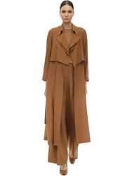 Agnona Wool And Cashmere Trench Coat Brown