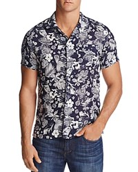 Todd Snyder Convertible Floral Print Regular Fit Button Down Shirt Navy