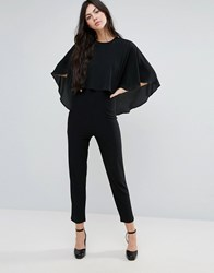 Endless Rose Tailored Jumpsuit With Cape Overlay Black