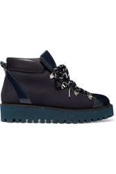 Ganni Alma Glossed Leather And Suede Platform Ankle Boots Navy