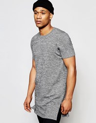 Asos Extreme Longline Knitted Tshirt With Side Splits Black And White Tw Grey