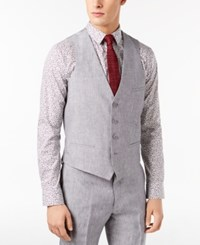Bar Iii Men's Slim Fit Light Gray Chambray Linen Suit Vest Created For Macy's Grey