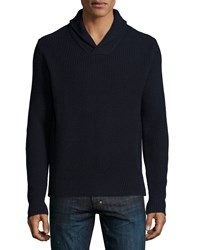 Michael Kors Shawl Collar Cashmere Blend Sweater Navy Women's