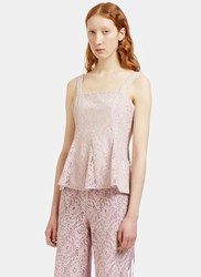 Renli Su Flared Lace Corset Top Pink